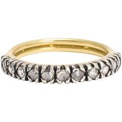 BL Bespoke Gold Twist Diamond Half Hoop Stacking Ring