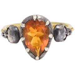 BL Bespoke Flaming Heart Memento Mori Skull Ring