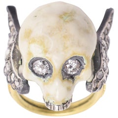 BL Bespoke Winged Skull Memento Mori Ring