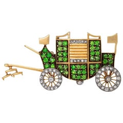 Antique Diamond and Demantoid Garnet Carriage Brooch