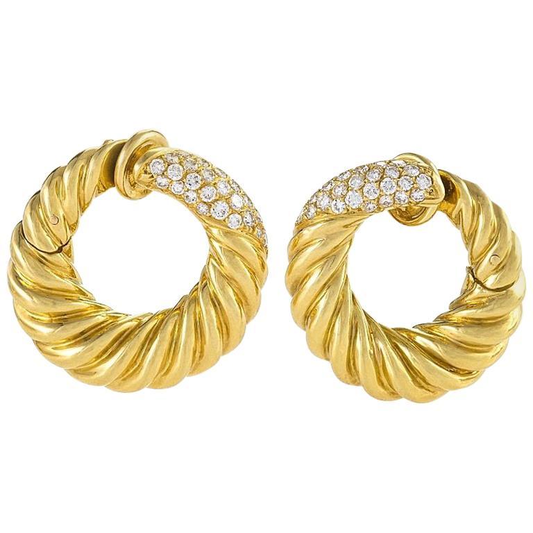 Van Cleef Arpels 1960s Diamond And Gold Hoop Earrings For