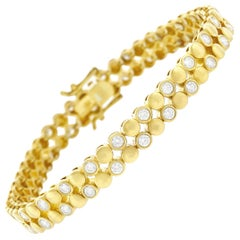 Modernist Diamond and Gold Bracelet