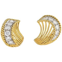 Cartier Paris Mid-20th Century Diamond Gold and Platinum Earrings