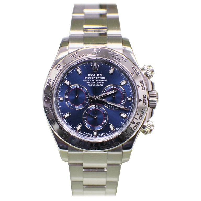 Rolex Daytona Cosmograph 116509 Blue Dial 18 Karat White Gold Box and Papers