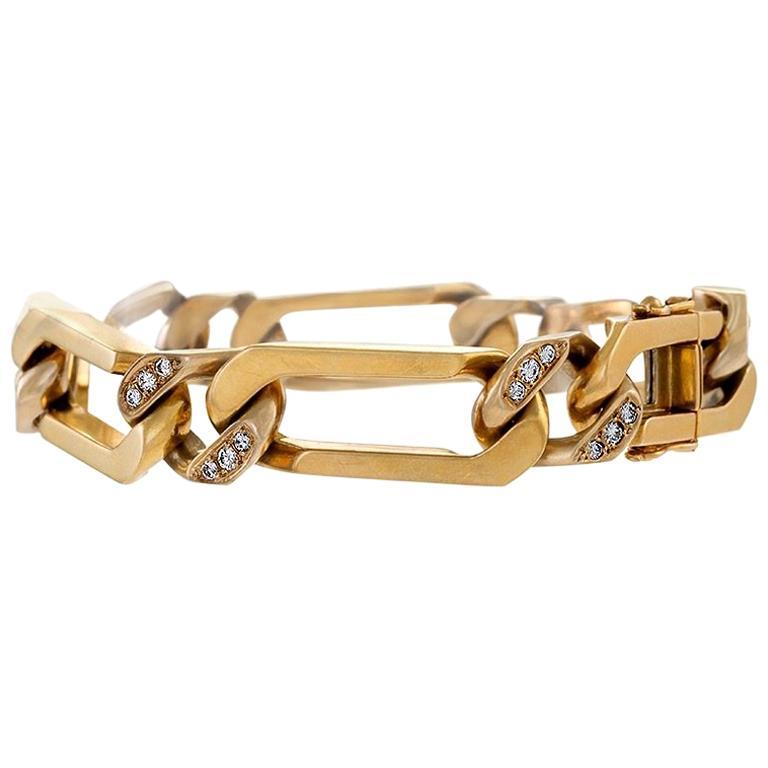 Van Cleef & Arpels Paris Mid-20th Century Diamond and Gold Curb Link Bracelet
