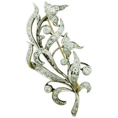 Platinum on Yellow Gold circa 1910 Edwardian Brooch 2.25 Carat