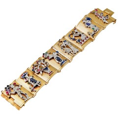 Retro Yellow Gold Eight Charms Bracelet
