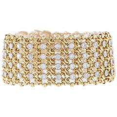 Cartier Paris 1980s Century Diamond Platinum and Gold Bracelet