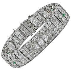 Art Deco Diamond, Emerald Bracelet
