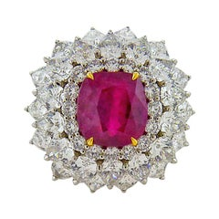 5.02 Carat Ruby and Diamond Platinum Ring