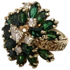 Midcentury Green Tourmaline Diamond Yellow Gold Cluster Cocktail Ring