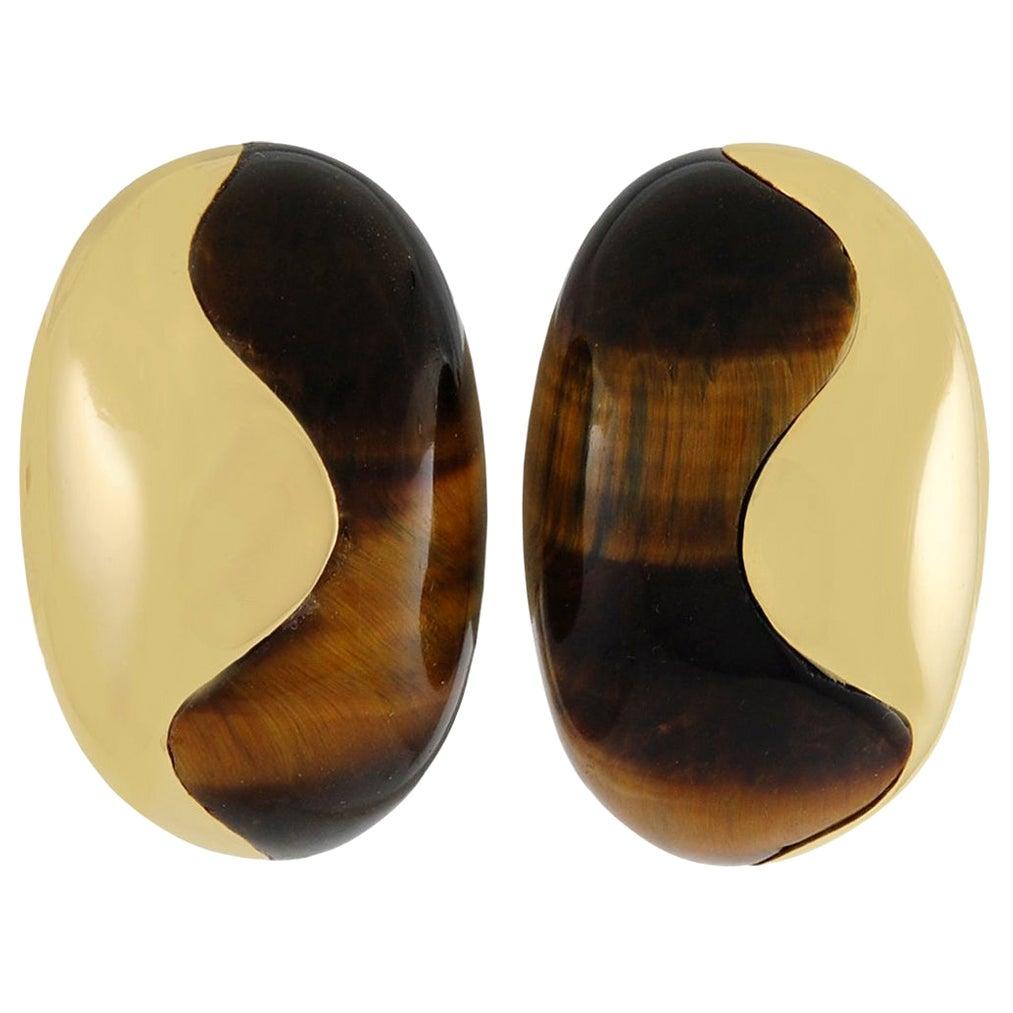 VAN CLEEF & ARPELS Tigers Eye Bombe Earrings