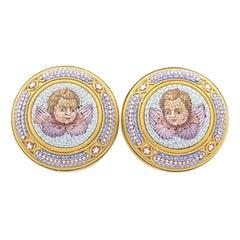 Antique Cupid Micro Mosaic 18 Karat Gold Earrings