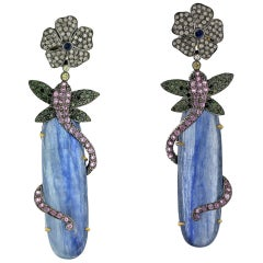 Kynite Earring with Sapphire and Diamonds