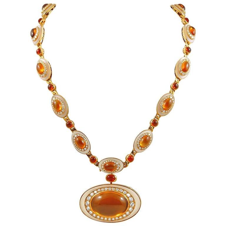 18k Gold Cabochon Citrine, Diamond and Rock Crystal Sautoir Necklace/Bracelet