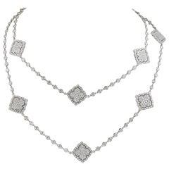 18 Karat Gold Diamond Long Necklace, 21.5 Carat