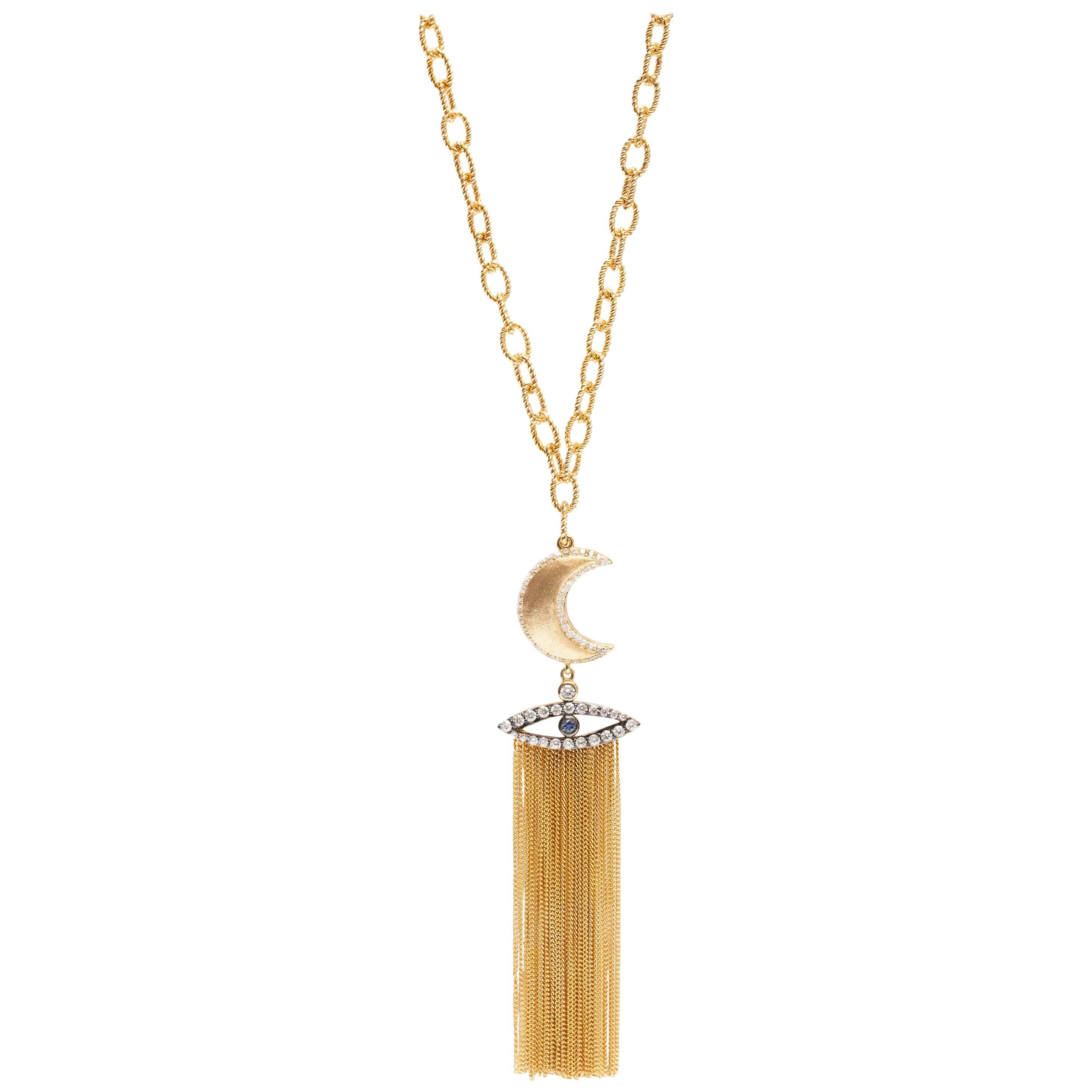 AMMANII Gold Moon and the Evil Eye Vermeil Gold Necklace