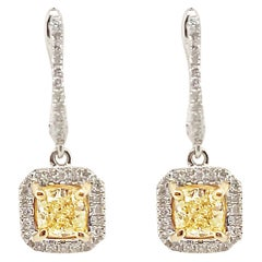 1.16 Carat Fancy Yellow Diamond Earrings with Diamond Accents, Set in 18 Karat
