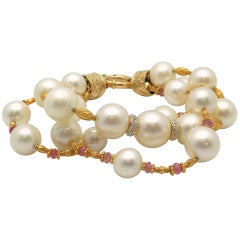 Three-Strand South Sea Cultured Pearl, Diamond and Pink Tourmaline Bracelet