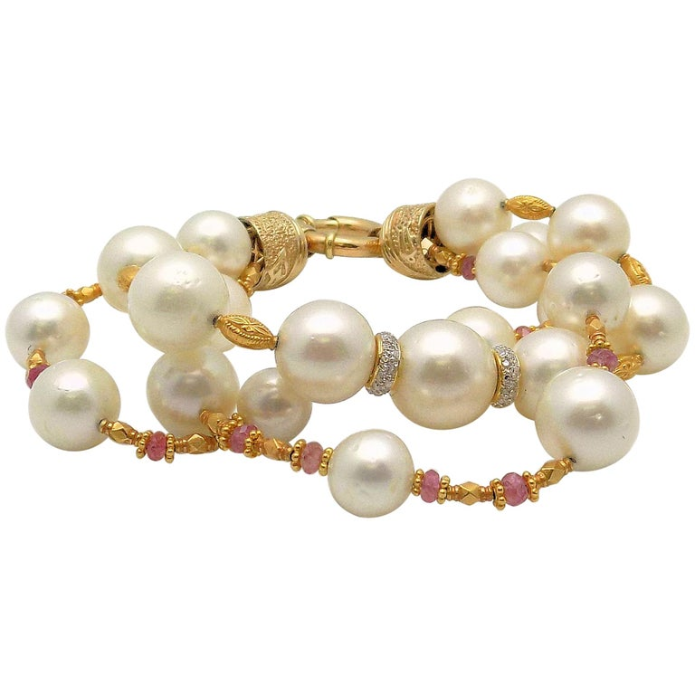 Three-Strand South Sea Cultured Pearl, Diamond and Pink Tourmaline Bracelet For Sale