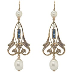 Antique French Cut Sapphire and Pearl Drop Earrings Set in 14 Karat Gold