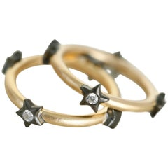 Stackable band with Bezel Stars Vermeil Gold