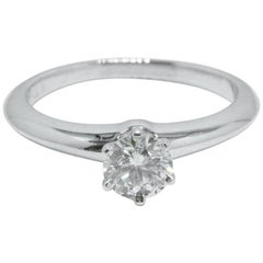 Tiffany & Co. Platinum and Diamond Engagement Ring Round 0.58 Ct I VS2 Complete