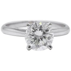 Leo Diamond Engagement Ring Round 1.97 CTS H SI1 14KT White Gold w/Papers