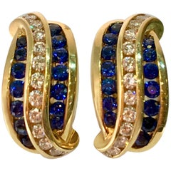 Charles Krypell Blue Sapphire Diamond 18 Karat Yellow Gold Earrings