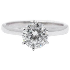 Leo Diamond Solitaire Engagement Ring Round Cut 1.64 CTS I SI1 14K White Gold