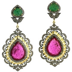 Carved Ruby and Emerald Earrings with Diamonds