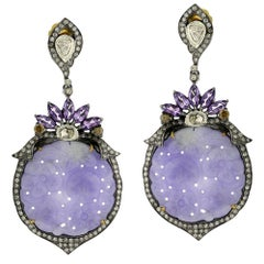 Carved Lavender Jade Earring with Amethyst and Diamonds