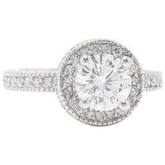 Leo Diamond Engagement Ring Round Cut 1.62 TCW 14K White Gold Halo Setting