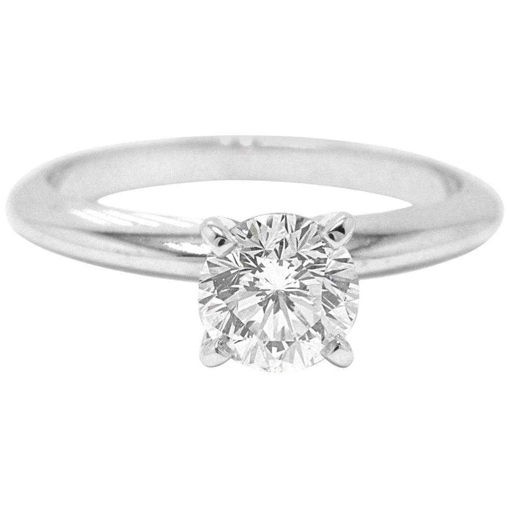 Leo Diamond Solitaire Engagement Ring Round 0.99 Carat H SI1 14 Karat White Gold