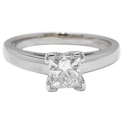 Leo Diamond Princess Cut 0.95 Carat H SI1 Solitaire Ring 14 Karat White Gold