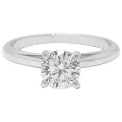 Leo Diamond Solitaire Engagement Ring Round Cut 1.02 CTS I SI2 14K White Gold