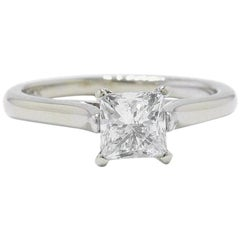 Leo Diamond Princess Cut Solitaire Ring 1.00 Carat G SI2 14 Karat White Gold