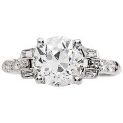Art Deco 2.07 Carat Old European Cut GIA H VS1 Diamond Platinum Engagement Ring