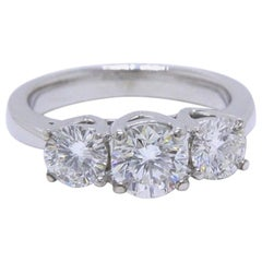 Leo Diamond Engagement Ring Three-Stone Rounds 1.51 Carat 14 Karat White Gold