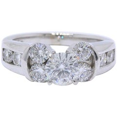 Leo Diamond Engagement Ring Rounds 1.77 Carat, 14 Karat White Gold