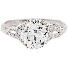 Art Deco GIA 1.68 Carat Old European J VS1 Diamond Platinum Engagement Ring