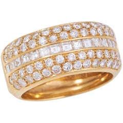 "Damiani 2.20 Carat Diamond and 18 Karat Gold ""Band"" Style Ring"