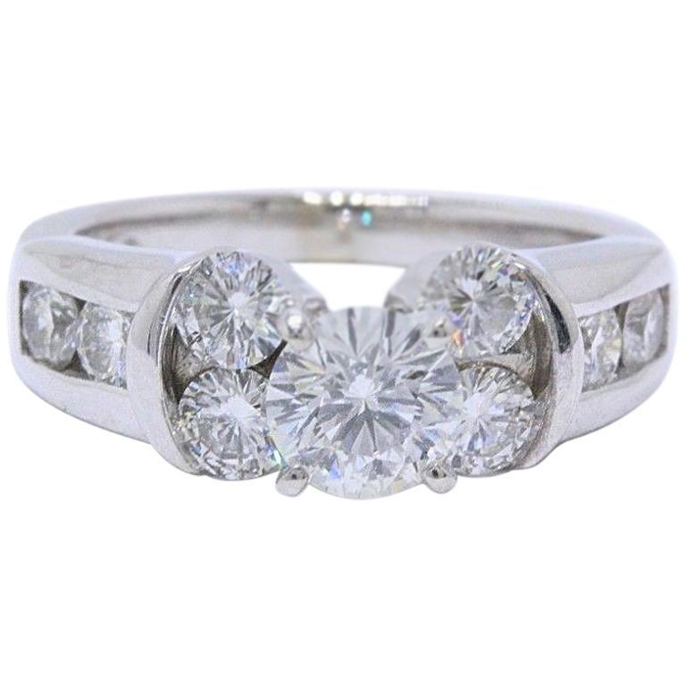 Leo Diamond Engagement Ring Round Cut 1 82 Carat 14 Karat White Gold