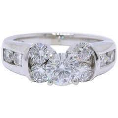 Leo Diamond Engagement Ring Round Cut 1.82 Carat 14 Karat White Gold