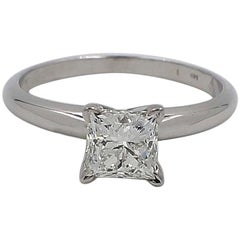 Leo Princess Cut Diamond 0.98 Carat White Gold Four Prong Solitaire Ring