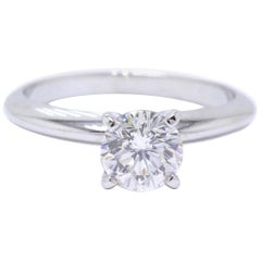 Leo Diamond Solitaire Engagement Ring Round 0.98 Carat H SI2 14 Karat White Gold