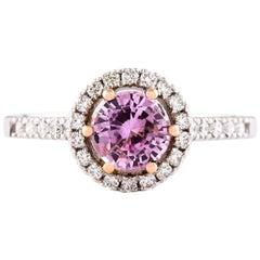 Kian Design Certified 1.17 Carat Pink Sapphire Diamond Halo Engagement Ring
