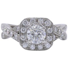 Leo Round Diamond Engagement Ring Halo Twist 1.23 Carat in 14 Karat White Gold