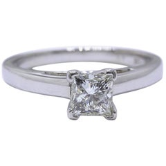 Leo Princess Cut Diamond Solitaire Engagement Ring 0.83 CT I SI1 14k White Gold