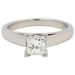 Leo Diamond Engagement Ring Princess Cut 0.75 cts I SI1 14k White Gold